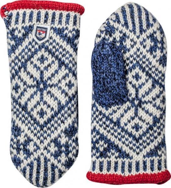 """HESTRA Gloves - """"Nordic Wool Mitt"""" - blue & white"""