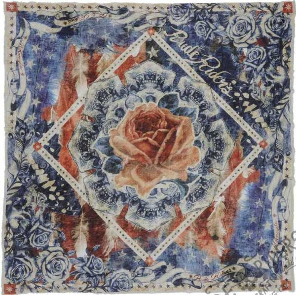"RUDE RIDERS Scarf - ""Custom Rose & Flag"" - 140 x 130 cm"