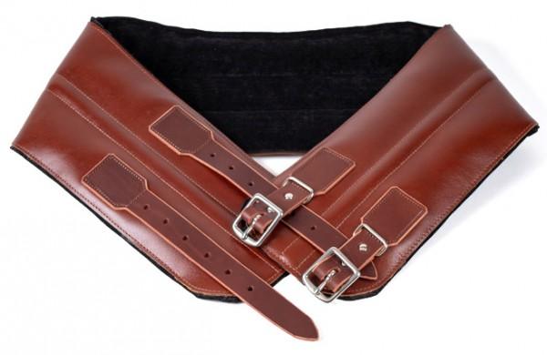 24Helmets brown leather kidney belt with steel buckles