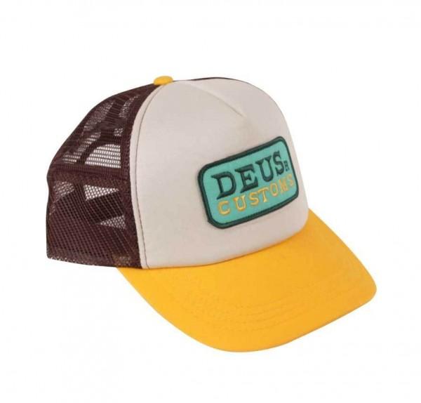 """DEUS EX MACHINA Hat - """"Gilmour Trucker"""" - brown & gold"""