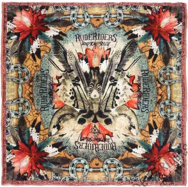 "RUDE RIDERS Scarf - ""Mex Skull Butterfly"" - 140 x 130 cm"