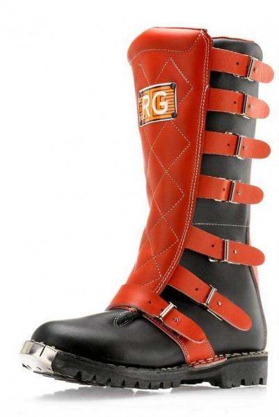 "RG ITALIA Motorcycle Boots - ""Regolarità Six Days"" - red & black"