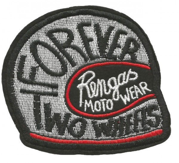 """RENGAS Patch - """"Forever Two Wheels"""" - silver"""