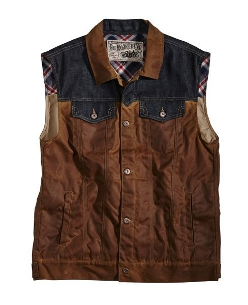 "ROKKER Vest - ""Wax Cotton Vest"" - brown & blue"