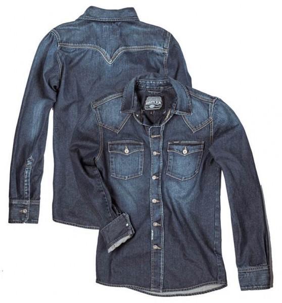 "ROKKER Men's Shirt - ""Worker Shirt Denim"" - indigo stonewashed"