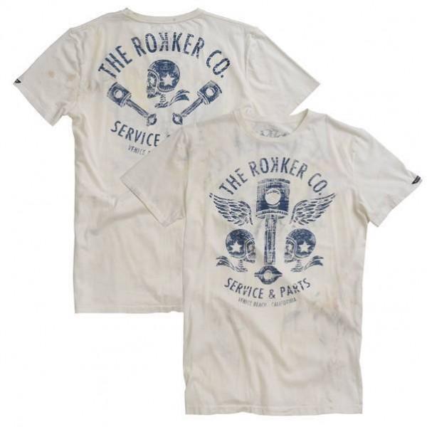 """ROKKER T-Shirt - """"Flying Pistons"""" - white"""