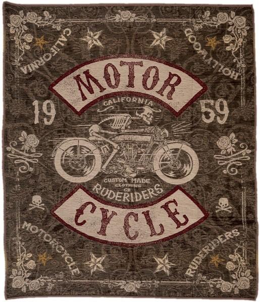 """RUDE RIDERS Blanket - """"Motorcycle"""" - 150 x 190 cm"""