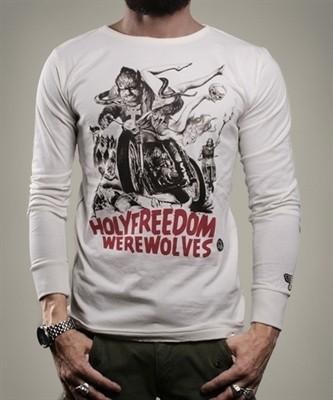 "HOLY FREEDOM Men's Longsleeve - ""Wolf White"" - white"