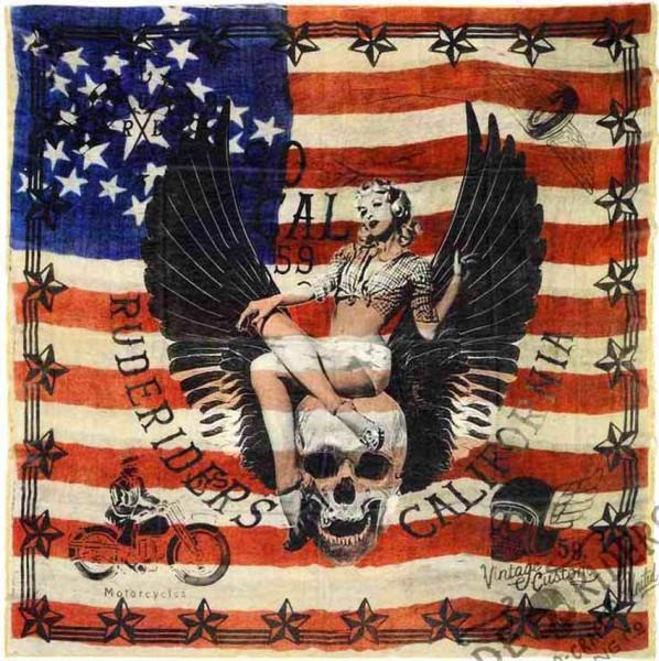 """RUDE RIDERS Scarf - """"American Custom Flag"""" - 140 x 130 cm"""