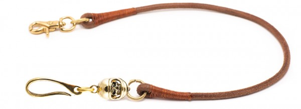 """SEVENTIES Lanyard with Keychain - """"Full Face Skull"""" - brown"""