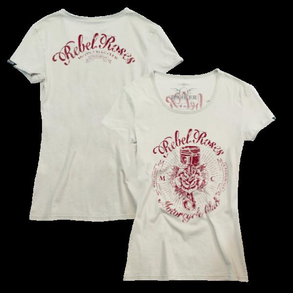 """ROKKER Women's T-Shirt - """"Rebel Roses"""" - white"""