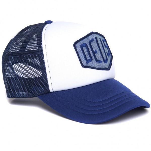 "DEUS EX MACHINA Hat - ""Chambray Shield Trucker"" - navy & white"