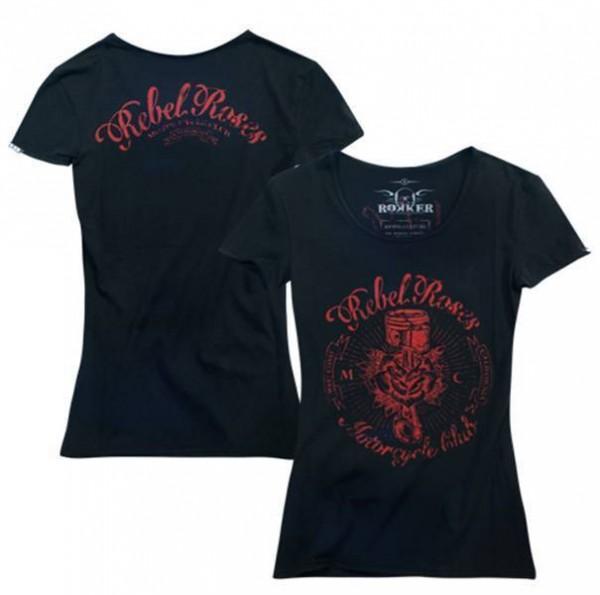 """ROKKER Women's T-Shirt - """"Rebel Roses"""" - black"""