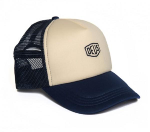"""DEUS EX MACHINA Hat - """"Shield Trucker"""" - blue & creme"""