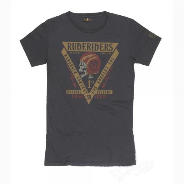 """RUDE RIDERS T-Shirt - """"Burning Pistons"""" - black"""