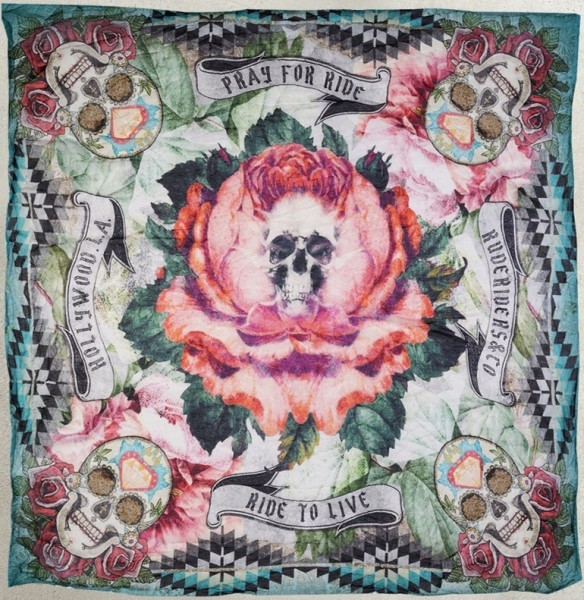 """RUDE RIDERS Scarf - """"Pray for Ride"""" - 140 x 130 cm"""