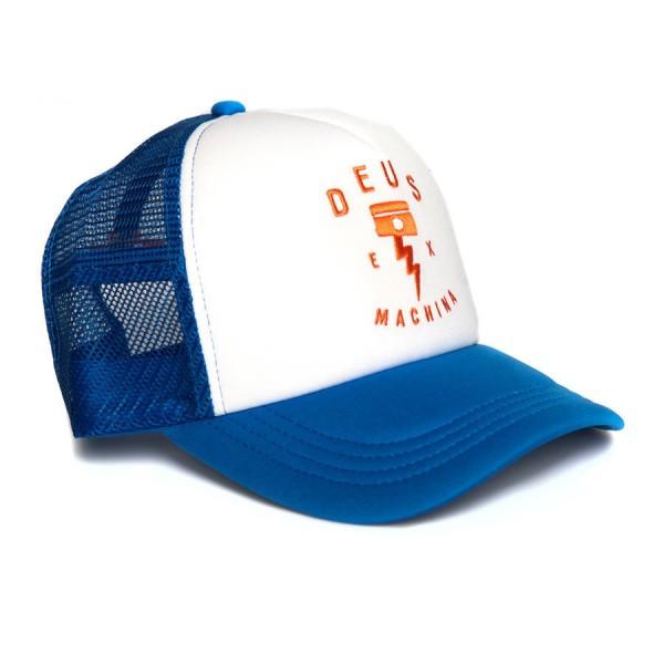 """DEUS EX MACHINA Hat - """"Piston Rock Trucker"""" - blue & white"""