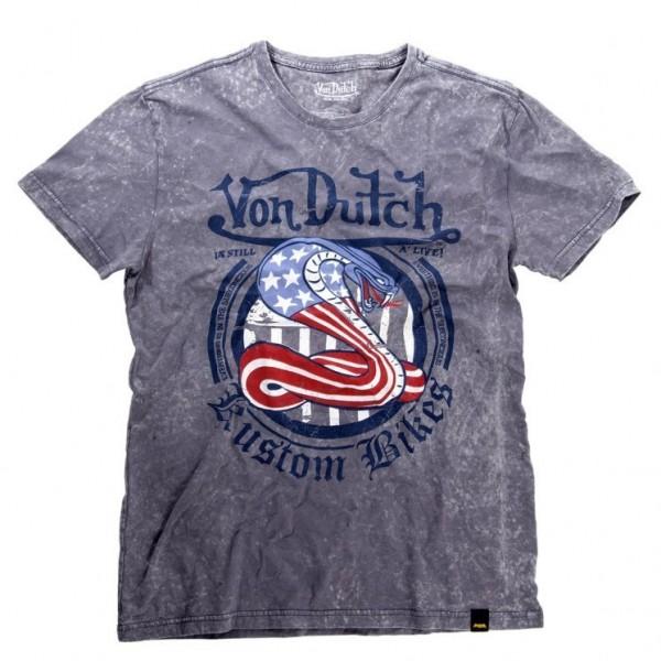 """VON DUTCH T-Shirt - """"Snake"""" - grey"""