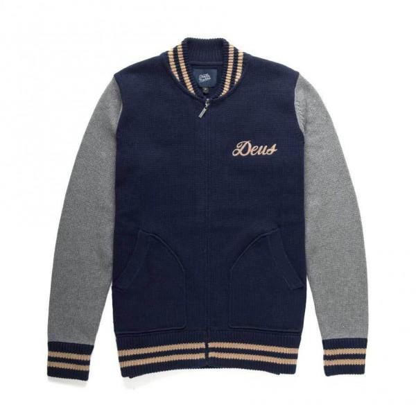 "DEUS EX MACHINA Knit Zip Jacket - ""Skull Bomber"" - blue"