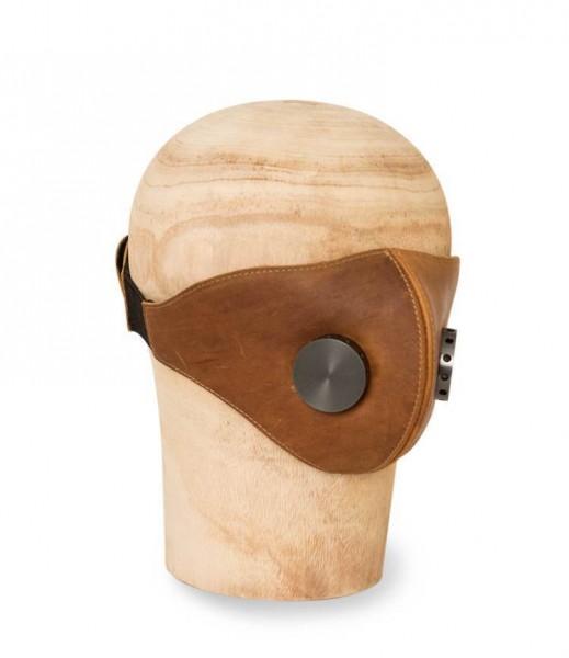 "HEDON Leather Face Mask - ""Hannibal"" - Brown & Gunmetal"