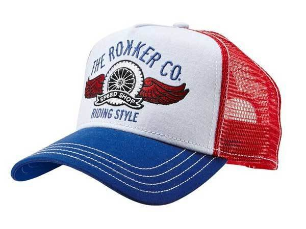 """ROKKER Hat - """"Trukker Riding Style"""" - white & blue"""