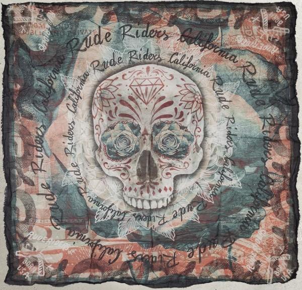 "RUDE RIDERS Scarf - ""Born USA"" - 140 x 130 cm"