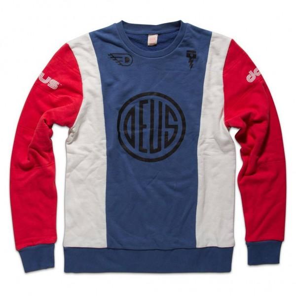 "DEUS EX MACHINA Men's Sweater - ""Luke Crew"" - blue & red"