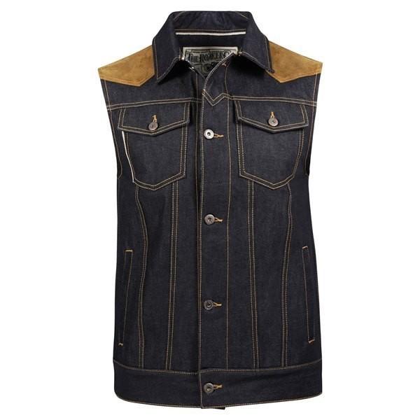 """ROKKER Vest - """"Mixed Vest Denim"""" - blue & brown"""