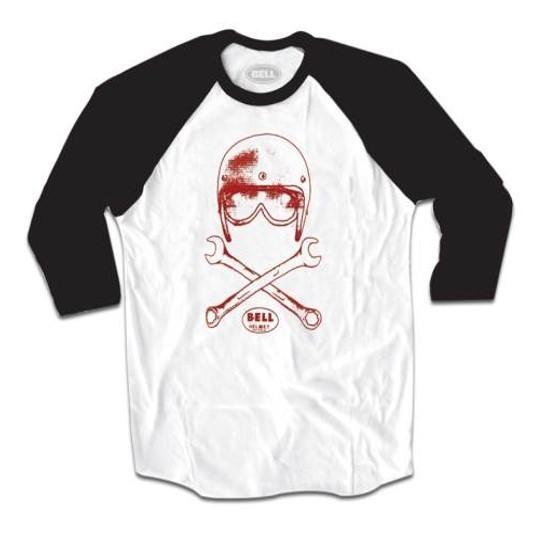 """BELL Men's 3/4 Shirt - """"Wrench Baseball"""" - white-black"""