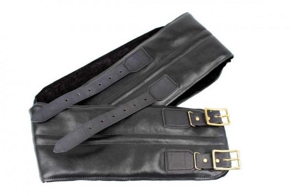24Helmets black leather kidney belt with brass buckles