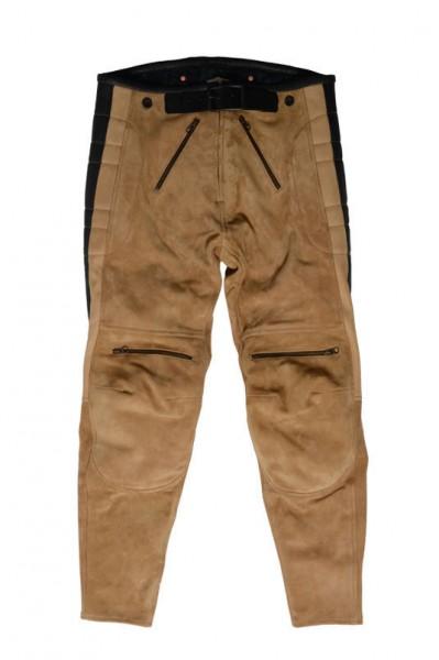 "EL SOLITARIO Leather Pants - ""Rascal Leather Motorcycle Pants"" - Nubuck beige"