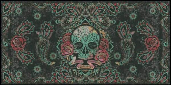 """RUDE RIDERS Scarf - """"Skull & Roses"""" - 200 x 100 cm"""