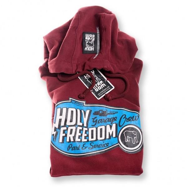 "HOLY FREEDOM Men's Hoodie - ""Tank"" - bordeaux"
