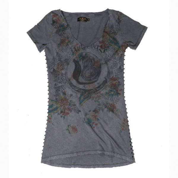 "RUDE RIDERS Women's T-Shirt - ""Motorcycle & Roses"" - dark grey"