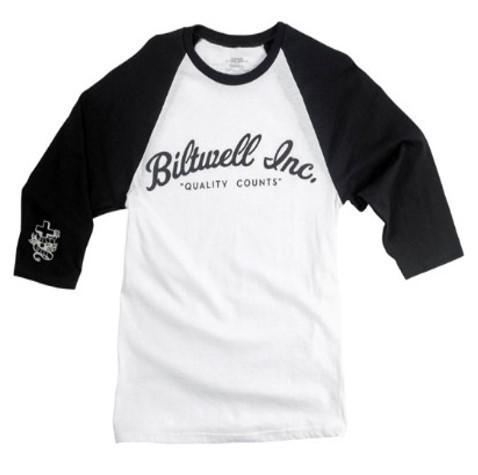 "BILTWELL Raglan Shirt - ""Script"" - white & black"
