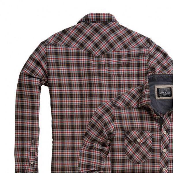 "ROKKER Men's Shirt - ""Brotherhood Brown & Red Vintage"" - checkered"