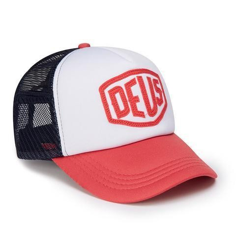"DEUS EX MACHINA Hat - ""Raised Shield Trucker"" - navy & white"