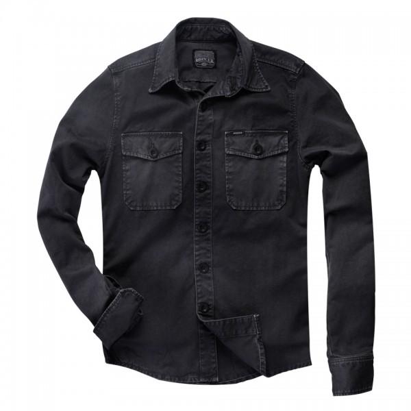 """ROKKER Men's Shirt - """"Worker Shirt Black"""" - washed black"""