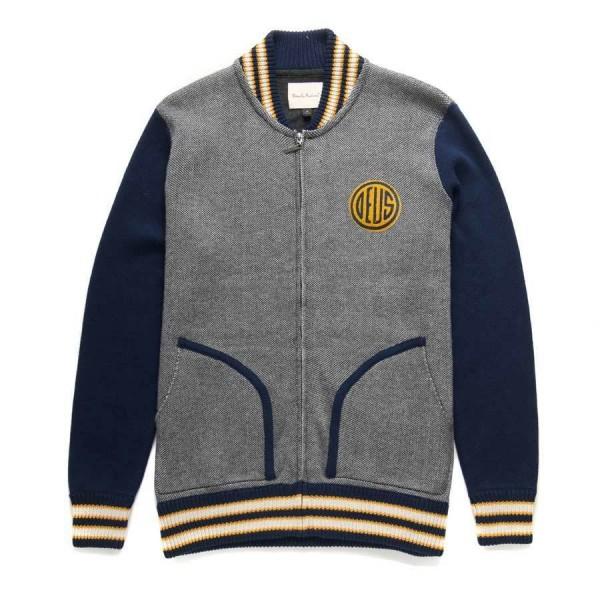 "DEUS EX MACHINA Knit Zip Jacket - ""La. Ca Bomber"" - grey & blue"
